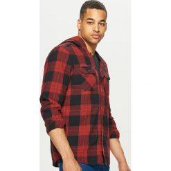 Odzież: Flanelowa koszula z kapturem - Czerwony