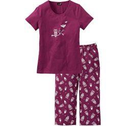 Piżamy damskie: Piżama bonprix jeżynowo-biały