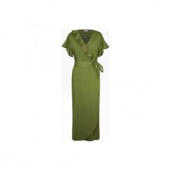LETNIA ZIELONA SUKIENKA Z FALBANKAMI. Zielone długie sukienki marki Bien fashion, na lato, xs, z bawełny, z kopertowym dekoltem, z długim rękawem, kopertowe. Za 199,00 zł.