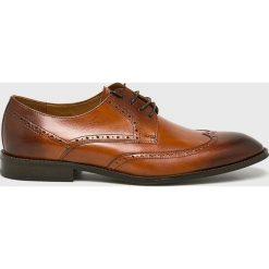 Conhpol - Półbuty. Brązowe buty wizytowe męskie Conhpol, z materiału, na sznurówki. Za 589,90 zł.