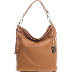 Torebki klasyczne damskie: Skórzana torebka w kolorze jasnobrązowym - 26 x 28 x 12 cm