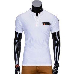 T-SHIRT MĘSKI BEZ NADRUKU S665 - BIAŁY. Białe t-shirty męskie z nadrukiem Ombre Clothing, m, z bawełny, ze stójką. Za 35,00 zł.