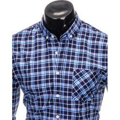 KOSZULA MĘSKA W KRATĘ Z DŁUGIM RĘKAWEM K396 - GRANATOWY/NIEBIESKI. Brązowe koszule męskie na spinki marki Ombre Clothing, m, z aplikacjami, z kontrastowym kołnierzykiem, z długim rękawem. Za 49,00 zł.
