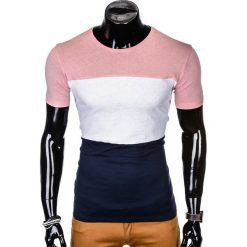 T-SHIRT MĘSKI BEZ NADRUKU S1005 - PUDROWY RÓŻ/GRANATOWY. Czerwone t-shirty męskie z nadrukiem Ombre Clothing, m. Za 29,00 zł.