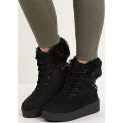 Czarne Śniegowce Heat Up. Czarne buty zimowe damskie marki Born2be, z okrągłym noskiem, na platformie. Za 79,99 zł.