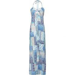 Sukienka plażowa bonprix niebieski wzorzysty. Niebieskie sukienki na komunię bonprix, na plażę, z nadrukiem, ze sznurowanym dekoltem. Za 79,99 zł.