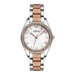 """Zegarek """"SO-2774-MQ"""" w kolorze srebrno-różowozłotym. Szare, analogowe zegarki damskie NIXON & ESPRIT, ze stali. W wyprzedaży za 259,95 zł."""