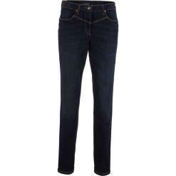 Jeansy damskie: Dżinsy modelujące sylwetkę z wstawką w prążek z boku w talii bonprix ciemny denim