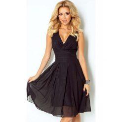Sukienki balowe: Czarna Sukienka Wieczorowa z Szyfonu z Dekoltem V