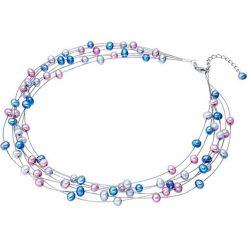 Naszyjniki damskie: Naszyjnik z pereł w kolorze niebiesko-jasnoróżowo-lawendowym – dł. 42 cm