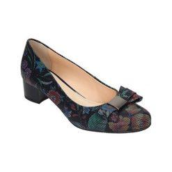 Buty ślubne damskie: Skórzane czółenka ze wzorem