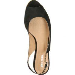 Sandały ROSITA. Czarne sandały damskie marki Gino Rossi, z nubiku, na wysokim obcasie, na płaskiej podeszwie. Za 239,90 zł.