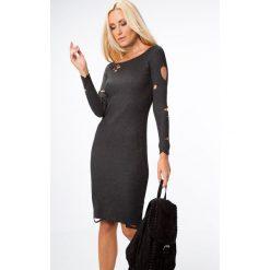 Sukienki: Sukienka z dziurami ciemnoszara 90075
