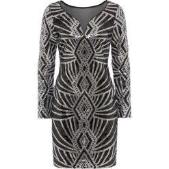 Sukienki: Sukienka na party, z cekinami bonprix czarno-srebrny wzorzysty