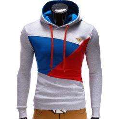BLUZA MĘSKA Z KAPTUREM B342 - SZARA. Szare bluzy męskie rozpinane marki Ombre Clothing, m, z bawełny, z kapturem. Za 79,00 zł.