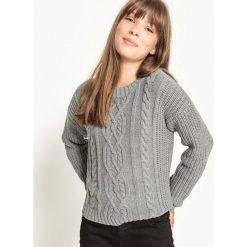 Sweter w warkocze 10-16 lat. Szare swetry chłopięce La Redoute Collections, z bawełny, z okrągłym kołnierzem. Za 79,76 zł.