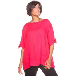 """Bluzki asymetryczne: Lniana koszulka """"Nelia"""" w kolorze koralowym"""