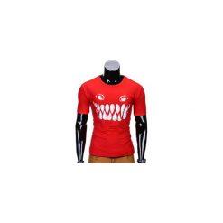 T-SHIRT MĘSKI Z NADRUKIEM S814 - CZERWONY. Czerwone t-shirty męskie z nadrukiem Ombre Clothing, m, z bawełny. Za 29,00 zł.