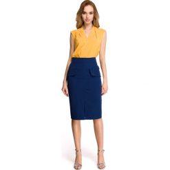 Spódniczki: Granatowa Ołówkowa Spódnica za Kolano z Kieszeniami z Patką