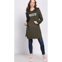 Bluzy damskie: Ciemnozielona Bluza Communicative