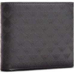 Duży Portfel Męski EMPORIO ARMANI - YEM176 YC043 80001 Black. Szare portfele męskie marki Emporio Armani, l, z nadrukiem, z bawełny, z okrągłym kołnierzem. W wyprzedaży za 449,00 zł.