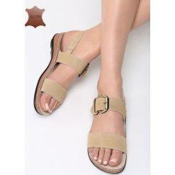 Beżowe Skórzane Sandały Unknown Just. Brązowe sandały damskie marki Born2be, z materiału, na obcasie. Za 99,99 zł.