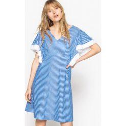 Sukienki hiszpanki: Sukienka z szerokim dekoltem V, z tyłu dekolt kwadratowy, 100% bawełny