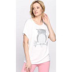 Bluzki asymetryczne: Biały T-shirt Clever Head