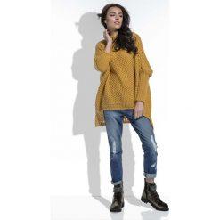 Golfy damskie: Miodowy Sweter Oversize z Golfem