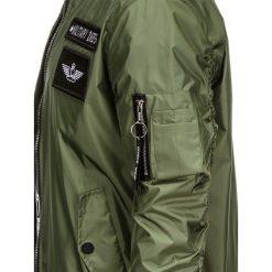 KURTKA MĘSKA PRZEJŚCIOWA BOMBERKA C350 - OLIWKOWA. Czarne kurtki męskie bomber marki Ombre Clothing, m, z bawełny, z kapturem. Za 99,00 zł.