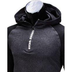 BLUZA MĘSKA Z KAPTUREM B675 - GRAFITOWA. Szare bluzy męskie rozpinane marki Ombre Clothing, m, z kapturem. Za 49,00 zł.