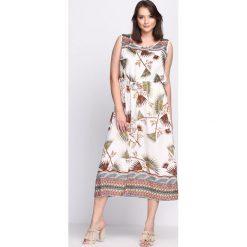 Biało-Brązowa Sukienka Such A Night. Białe sukienki marki Born2be, na lato, l, midi. Za 44,99 zł.