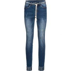 """Dżinsy Skinny z wywiniętymi nogawkami i ćwiekami bonprix niebieski """"stone"""". Niebieskie boyfriendy damskie bonprix, z jeansu. Za 159,99 zł."""