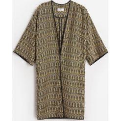 Żakardowy płaszcz - Wielobarwn. Szare płaszcze damskie Reserved, l, z żakardem. W wyprzedaży za 119,99 zł.