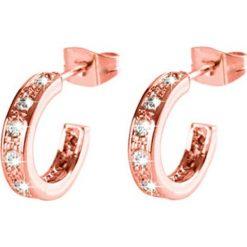 Kolczyki damskie: Pozłacane kolczyki-półkreole z kryształkami Swarovski
