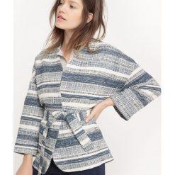 Bluzy rozpinane damskie: Bluza w stylu kimono, nadruk żakardowy