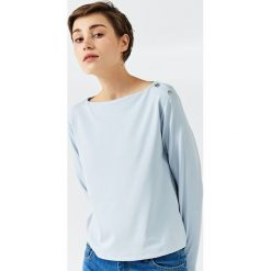 Simple - Bluzka. Szare bluzki nietoperze Simple, z elastanu, casualowe, z dekoltem w łódkę. W wyprzedaży za 299,90 zł.
