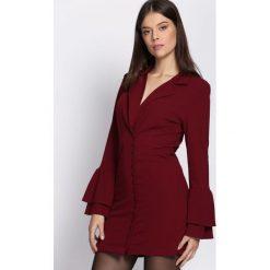 Bordowa Sukienka Burnish. Czerwone sukienki dzianinowe marki Born2be, m, z długim rękawem, mini, dopasowane. Za 89,99 zł.