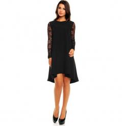 Czarna Elegancka Trapezowa Sukienka z Koronkowym Długim Rękawem. Czarne sukienki balowe marki Molly.pl, na imprezę, s, w koronkowe wzory, z koronki, z długim rękawem, mini, dopasowane. Za 175,90 zł.