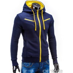 BLUZA MĘSKA ROZPINANA Z KAPTUREM AMIGO - GRANATOWO-ŻÓŁTA. Niebieskie bluzy męskie rozpinane Ombre Clothing, m, z bawełny, z kapturem. Za 75,00 zł.