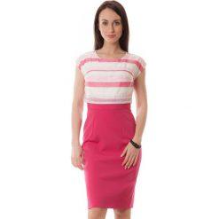 Sukienki hiszpanki: Sukienka w kolorze różowo-ecru