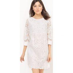 Sukienki hiszpanki: Koronkowa sukienka, rękawy 3/4, gładka