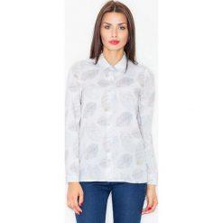 Ecru Koszula z Subtelnym Wzorem Liści. Szare koszule damskie marki Molly.pl, l, w jednolite wzory, z tkaniny, biznesowe, z klasycznym kołnierzykiem, z długim rękawem. Za 139,90 zł.