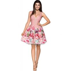 Pudrowa Elegancka Wyjściowa Sukienka z Szerokim Dołem w Kwiaty. Czerwone sukienki balowe marki Molly.pl, l, z jeansu, z dekoltem na plecach, z długim rękawem. Za 278,90 zł.