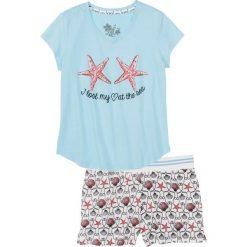 Bielizna nocna: Piżama z krótkimi spodenkami bonprix niebieski topaz z nadrukiem