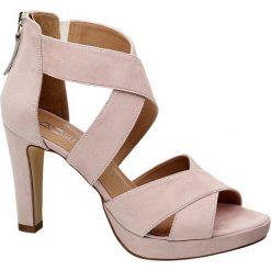 Rzymianki damskie: sandałki na obcasie 5th Avenue różowe