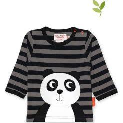 Koszulka w kolorze czarno-szarym. Czarne bluzki dziewczęce bawełniane Toby Tiger, z aplikacjami, z okrągłym kołnierzem, z długim rękawem. W wyprzedaży za 85,95 zł.