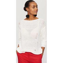 Swetry klasyczne damskie: Sweter z rękawami 3/4 – Kremowy