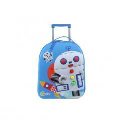 BAYER CHIC 2000 Bouncie Walizka - Robot, 40 cm - niebieski. Czarne walizki marki Jack Wolfskin, w paski, z materiału, małe. Za 119,00 zł.