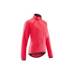 Kurtka przeciwdeszczowa na rower 500 damska. Czerwone kurtki damskie przeciwdeszczowe marki DOMYOS, z elastanu. Za 129,99 zł.